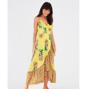 FARMRIO Golden Pineapple Floral Wrap Tassel Dress